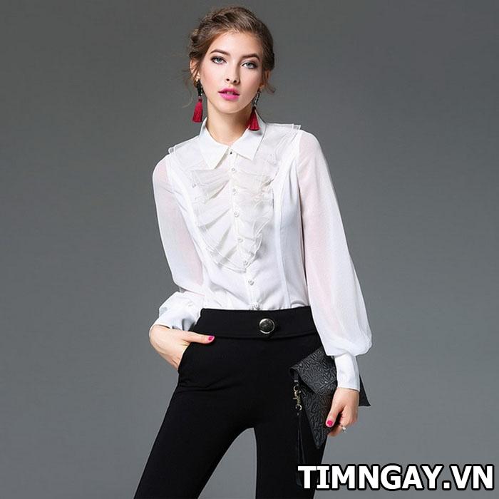 Các kiểu áo sơ mi nữ dễ thương, thời trang cho nàng công sở 5
