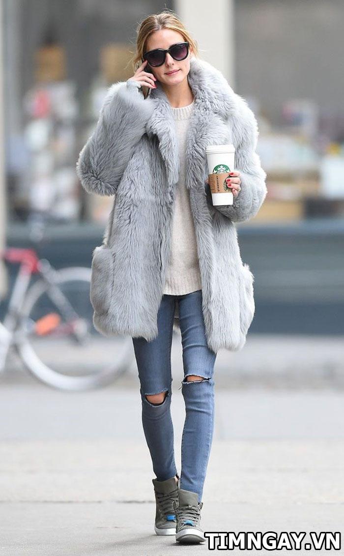 Thời trang mùa đông sành điệu với áo khoác lông, phối đồ hot nhất 1